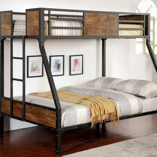 Relyn Wood Panel Industrial Metal Twin over Full Bunk Bed