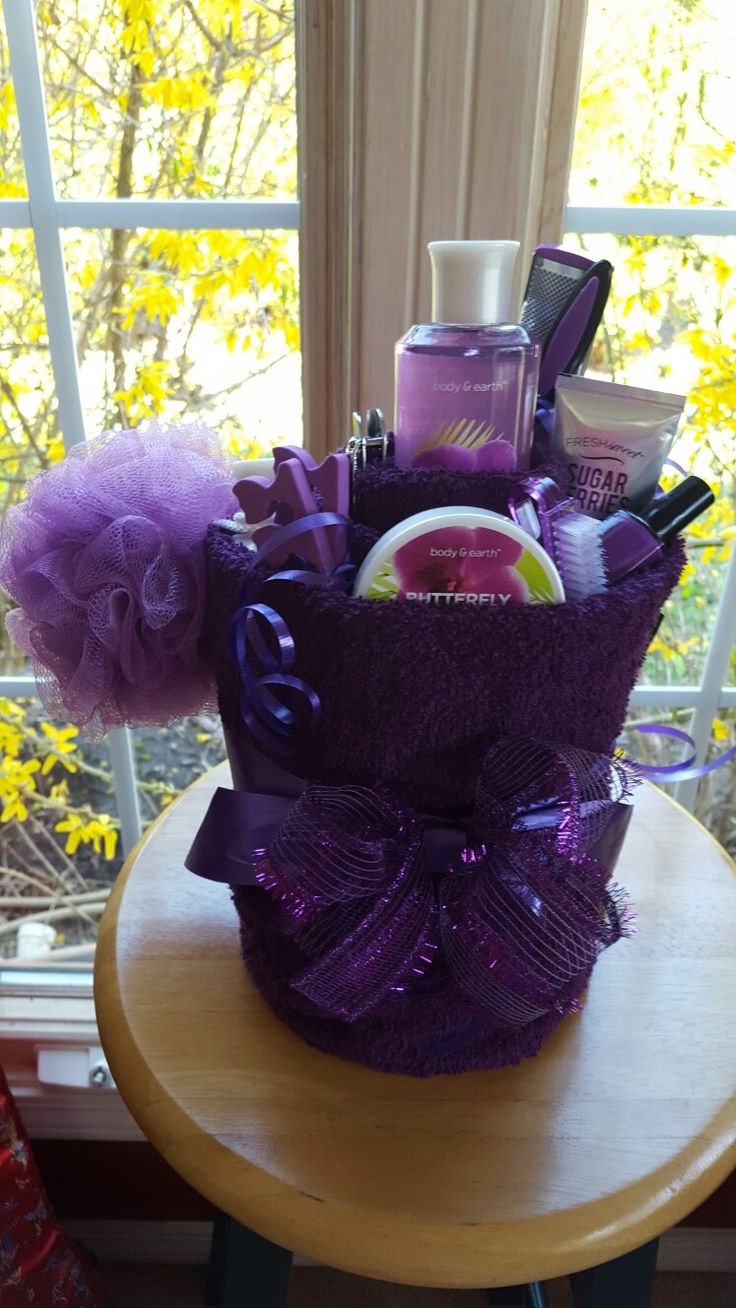 Purple Towel Spa Gift Basket Made By Norma S Unique Gift Baskets Mothers Day Baskets Spa