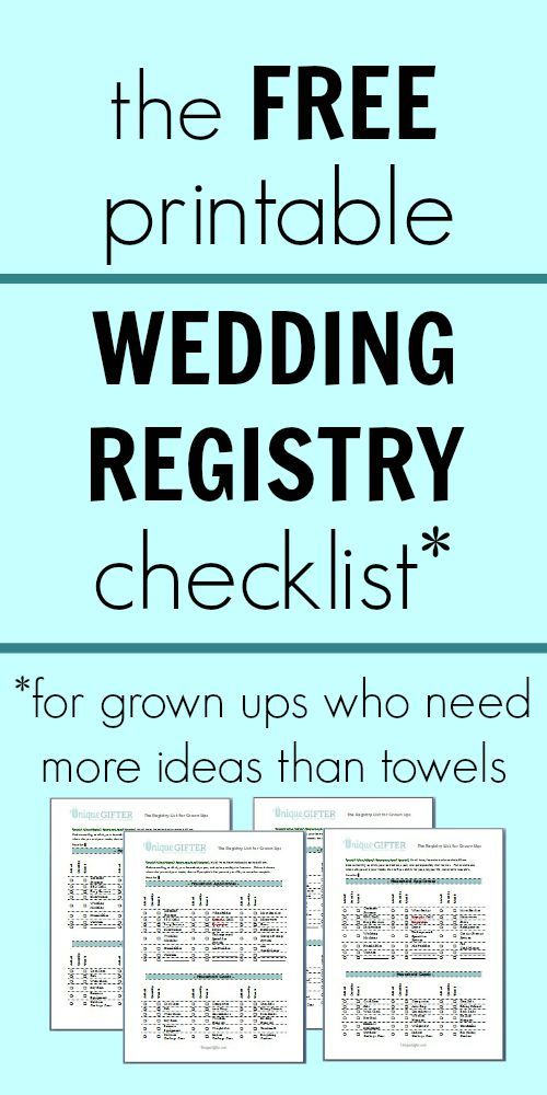 free printable wedding registry checklist - Registry