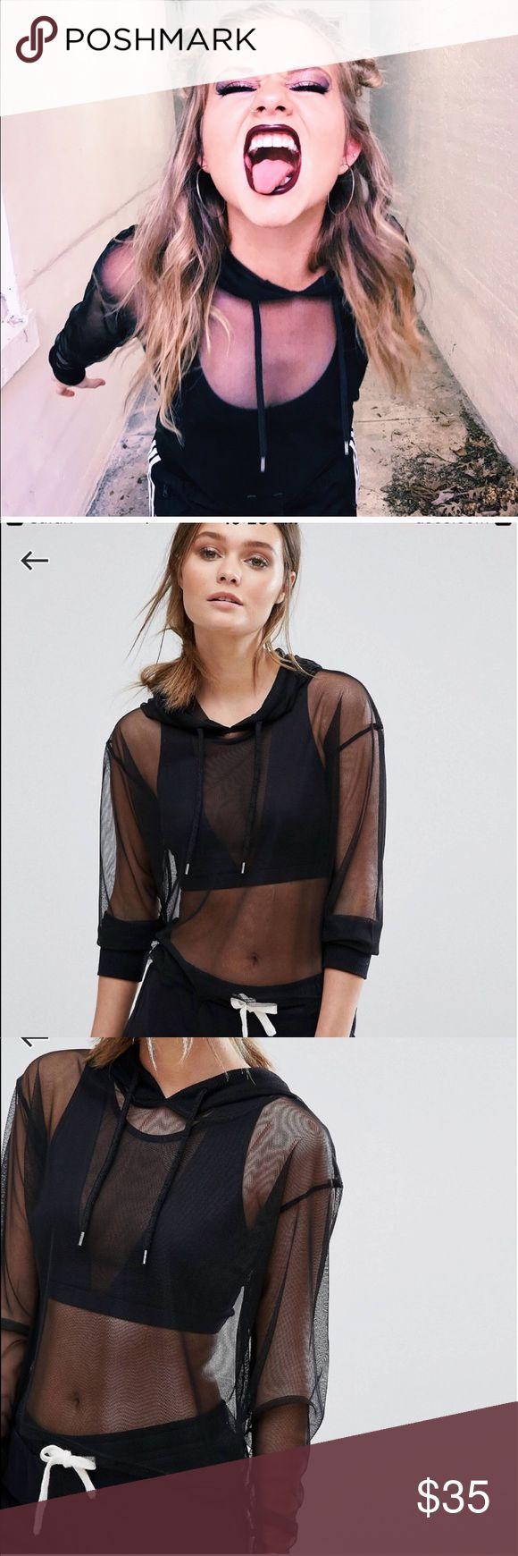 Black mesh hoodie Worn once! No sign of wear. Trendy black sheer hoodie ASOS Tops Sweatshirts & Hoodies