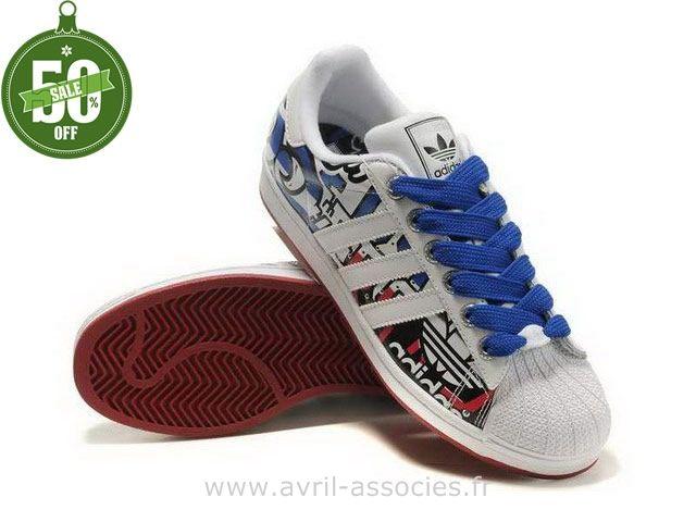 Femme Adidas Originals Superstar blanc/bleu