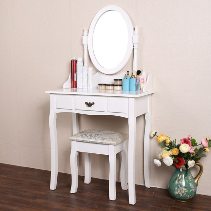 Elegant White Dressing Table Makeup Desk with Stool and Round Mirror Set Best Choice Bedroom Furniture