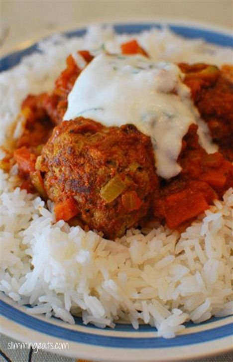 Lamb Kofta Curry with Mint Yoghurt | Slimming Eats - Slimming World Recipes