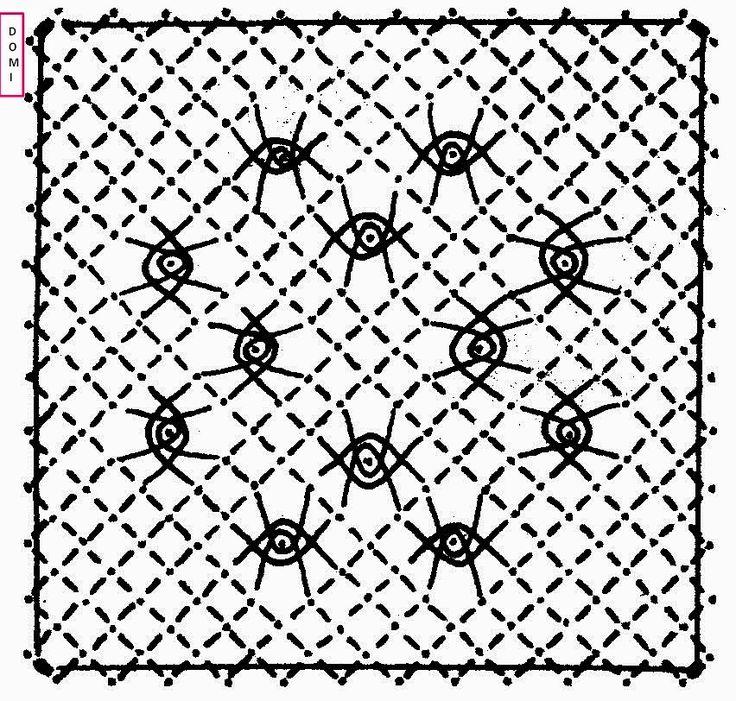 Pour ce 13ème carré Dominique vous propose des araignées sur fond torchon                 Si vous réalisez un ouvrage avec les cartons prop...