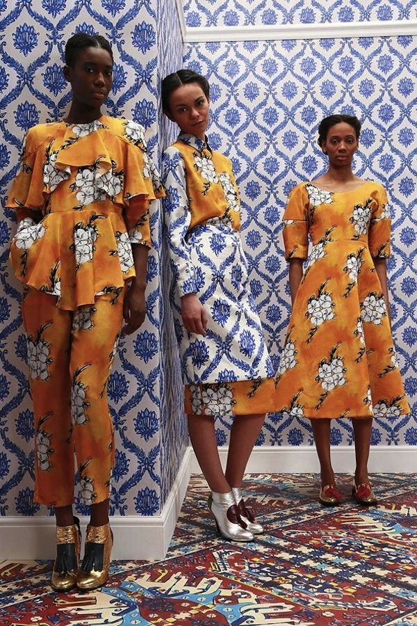 I love the pattern, on pattern, on pattern that is happening in fashion this year. From Stella Jean to Tata Naka, these designers are influenced by African and Asian designs that allow for a bold mix. We love the idea of choosing your favorite color palette, a few patterned pieces, and having fun mixing it …