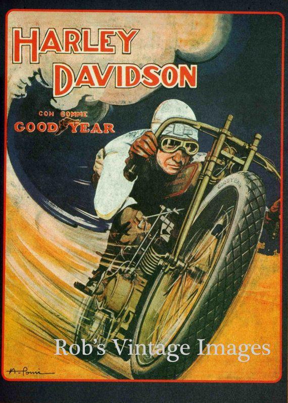 Vintage Harley Davidson Motorcycle  Poster large  V Twin Bike Goodyear Tires Ad  13 x19 1918