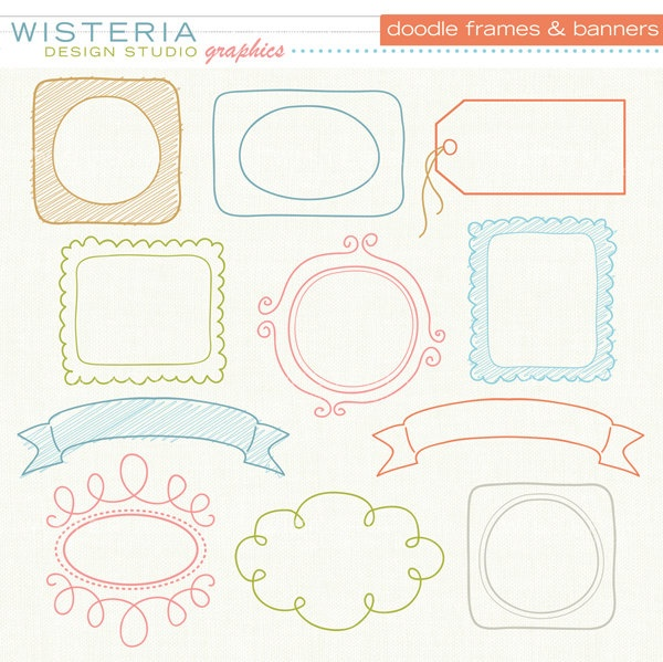 Doodle Frames and Banners - Clip Art for Personal & Commercial Use - Digital Designs. $5.00, via Wisteria Design Studio on Etsy.