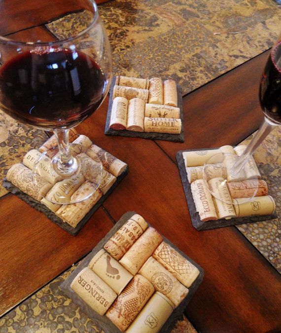 Cork coasters on slate. This one on Etsy. But - you could make these. Cut corks in half, glue them to piece of tile/slate. Felt on the bottom keeps them fr scratching surfaces.  Cool!  Hmm, that Christmas tree idea might take a back seat to this one!  Just gotta drink a wee bit more . . .