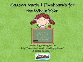 Use these flashcards that correlate with the Saxon Math program to help review with your students. Can also be used with other grades for review, o...