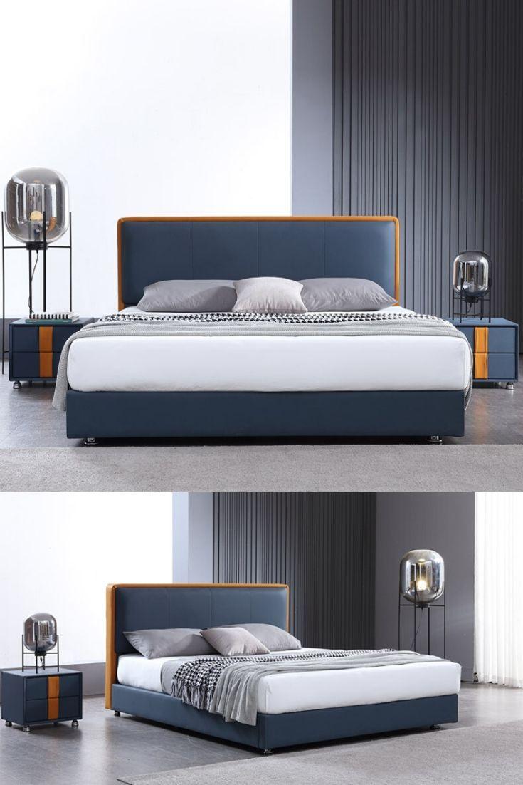 Navy Blue Headboard Bedroom Ideas In 2020 Bed Design Modern Bed Furniture Design Wooden Bed Design