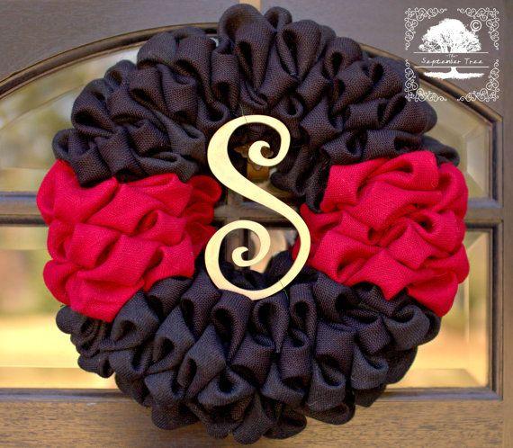 Burlap Wreath  Wreath  Fireman  Firefighter by TheSeptemberTree