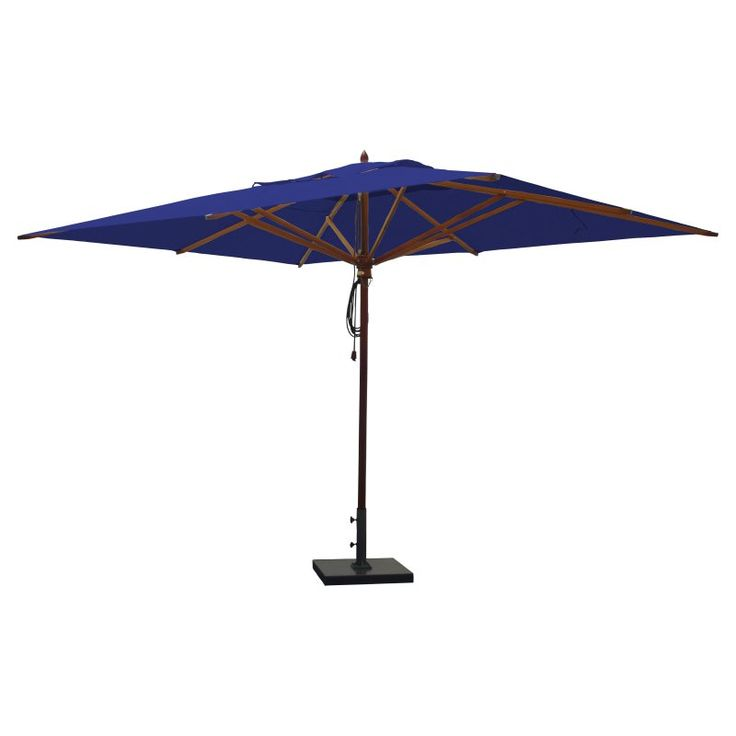 Greencorner 10 x 13 ft. African Mahogany Rectangular Patio Umbrella Ocean Blue - RC1013QS2018
