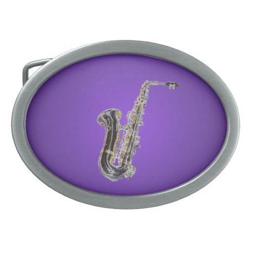 Saxophone cartoon oval belt buckles