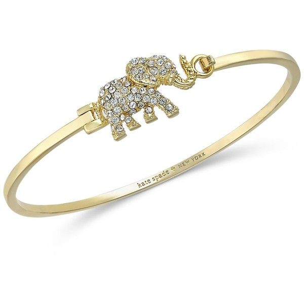 kate spade new york Gold-Tone Pave Elephant Bangle Bracelet ($88) ❤ liked on Polyvore featuring jewelry, bracelets, gold, bracelets & bangles, bracelet jewelry, bangle bracelet, hinged bracelet and hinged bangle