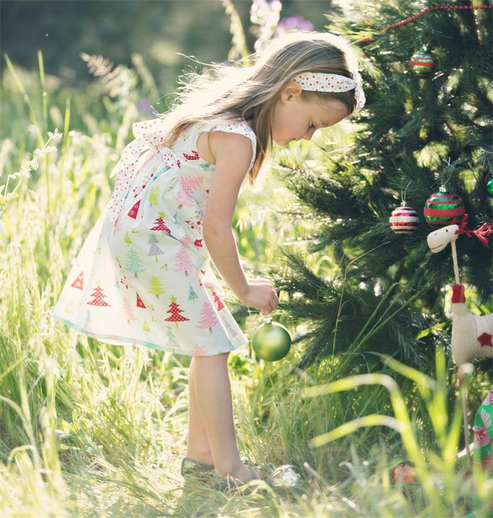 Party Dress Christmas Flutter Sleeve Sash Bow Sizes 0-3 Pastel trees spots | Twinkle Star | madeit.com.au