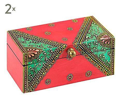 TRA INDIA E MAROCCO: Set di 2 scatole in legno Amini - 14x6x7 cm