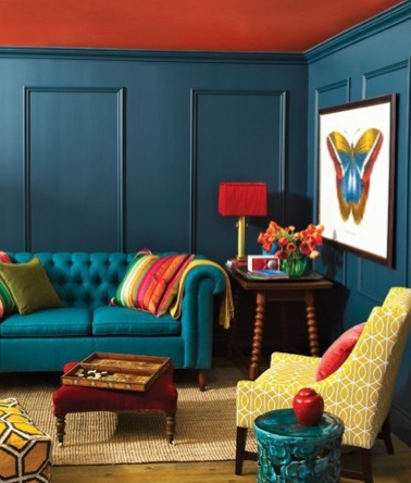 This is an example of a triadic color scheme it uses yellow green blue violet and red orange for Good colours for living room