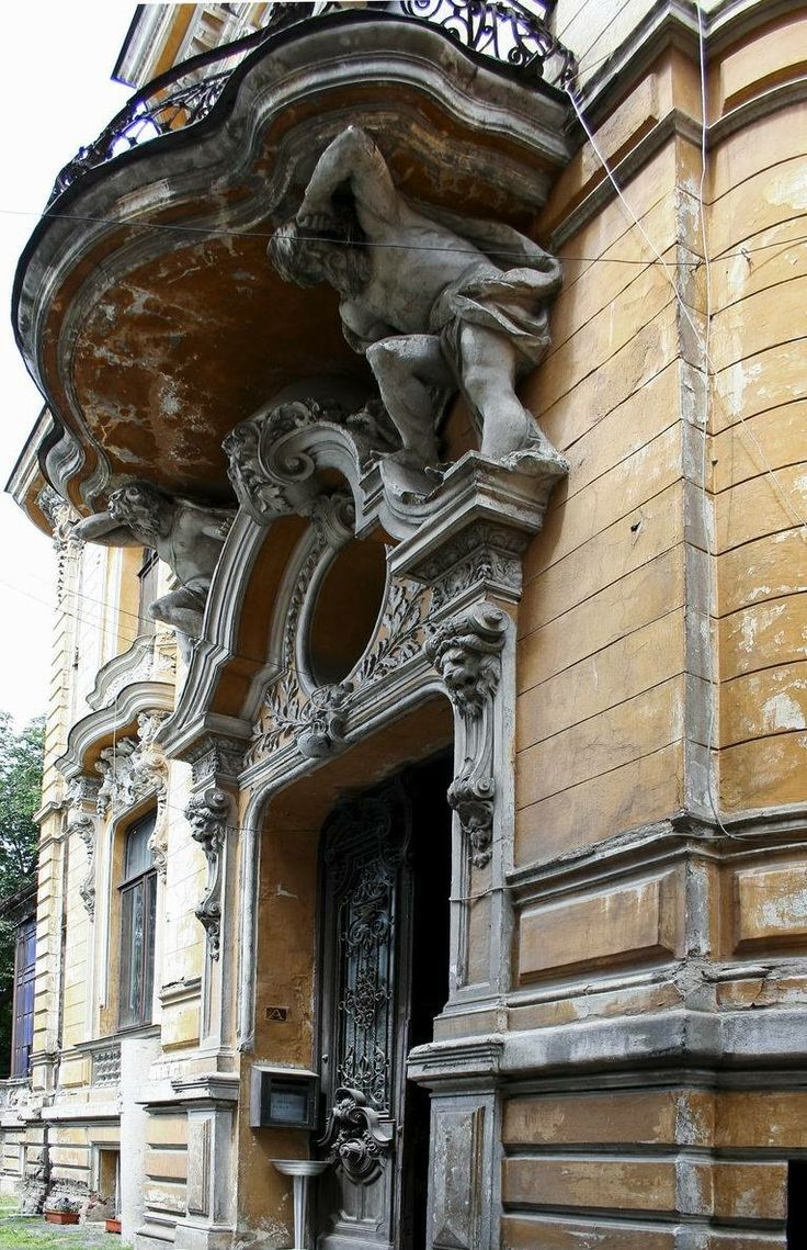 "The Macca House from Bucharest, Romania  The Main entrance Built between 1891-1900, designed by the Romanian architect Ion D. Berindey in Eclectic style with Art-Nouveau and Baroque influences, it hosts today the Institute of Archaeology ""Vasile Pārvan""."
