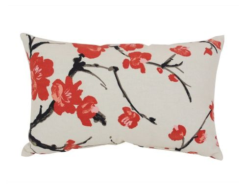 Pillow Perfect Decorative Beige and Red Flowering Branch 18.5 x 11.5 in. Rectangle Toss Pillow - Decorative Pillows at Hayneedle