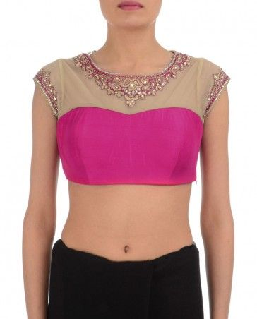 Hot Pink Blouse with Zari Work- Buy Regalia,Sari Blouses,Regalia by Deepika Online | Exclusively.in