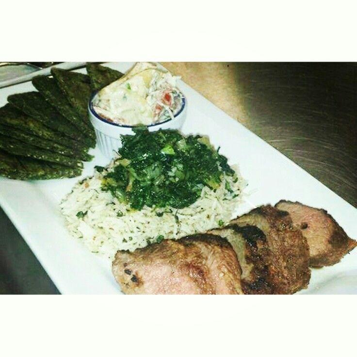 Fleak spinach paratha with green chillies grilled lamb tikka,south indian manggo yogurt salad, basmati rice