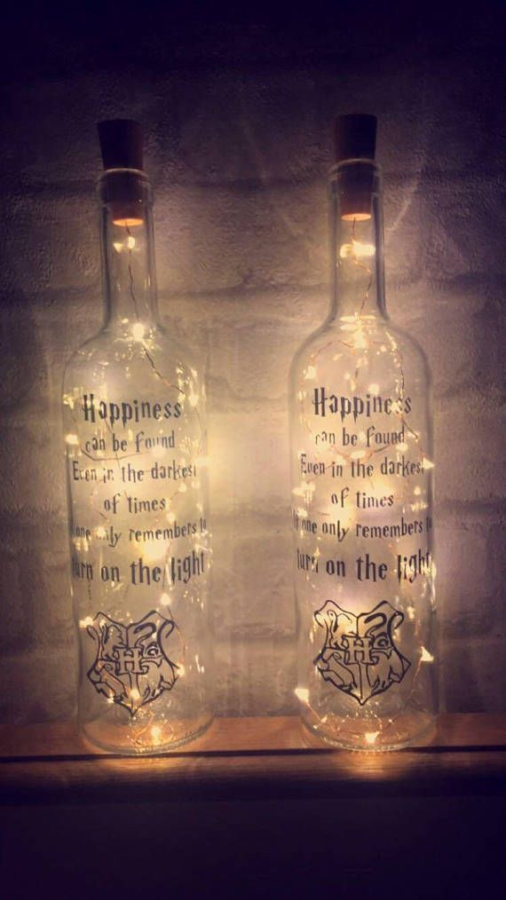 Beautiful Harry Potter night light bottle with quote. Pretty home decor #harrypotter #nightlights #bottlelight #homedecor #fairytale #gifts #commissionlink