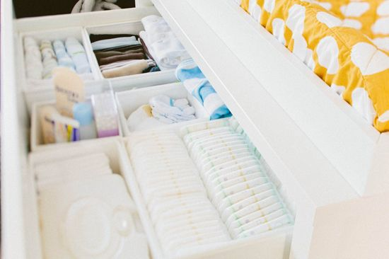 Use soft-sided organizers in dresser drawers to organize diapers and clothing.