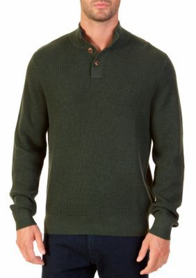 Nautica Men's Buttoned Shawl Collar Sweater - Moss Heather - 2Xl