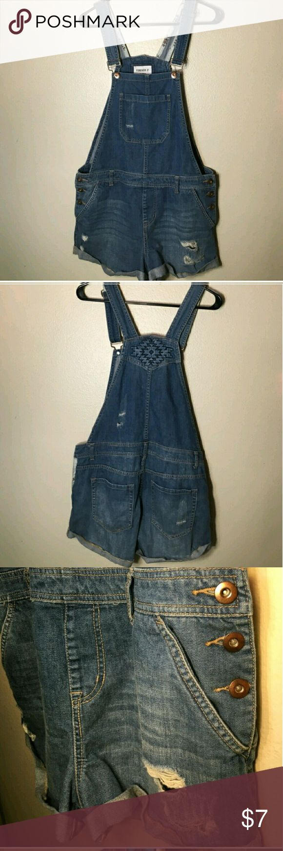 Distressed denim overalls shorts Great condition distressed Aztec design overall shorts sz XL Forever 21 Shorts Jean Shorts