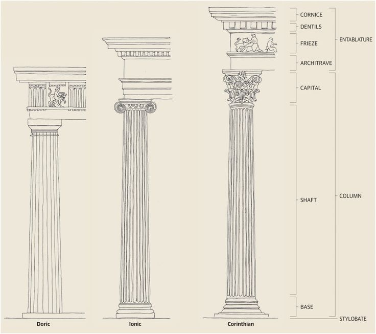 The Greek orders. Illustration: Emma Kelly - the Romans absorbed the Greek orders into their own architecture