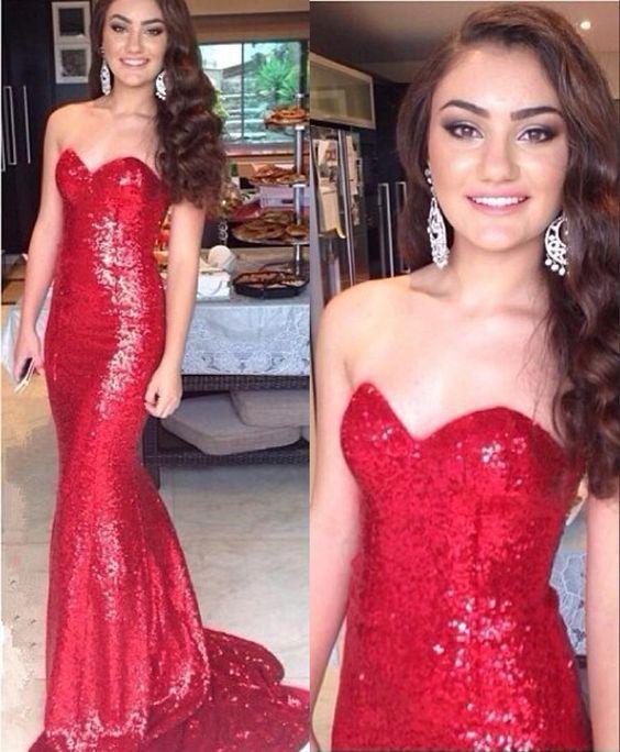 red sequin prom dress, long prom dress, mermaid prom dress, sparkle prom dress, sweetheart evening dress, BD28