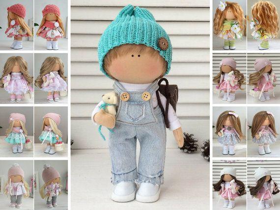 Boy doll Handmade doll Fabric doll Textile doll Muñecas Tilda doll Interior doll Art doll Green doll Soft doll Cloth doll Rag doll by Maria