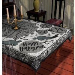 When you are plannng your next Halloween party, don't forget to create a frightfully scary ambience in your dining room or the area where you...: Halloween Parties, Halloween Decor, Dresses Up, Fabrics Tablecov, Halloweendecor, Midnight Lace, Fabrics Halloween, Lace Fabrics, Halloween Tablecloths