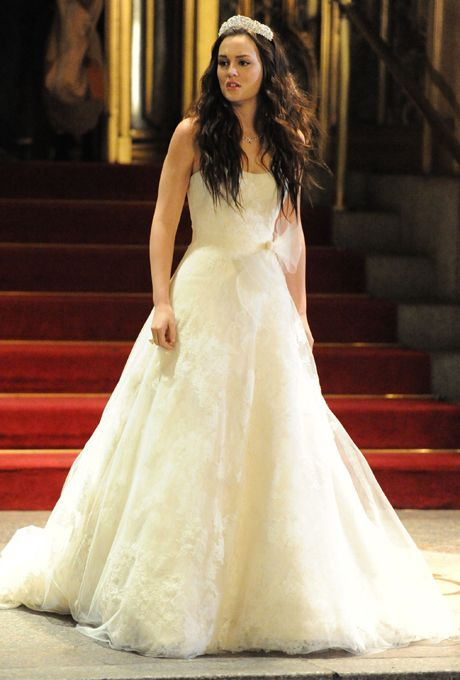 Brides.com: The Best TV Wedding Dresses . Blair on Gossip Girl. Gossip Girl fans may not have been rooting for this groom, but the stunning, lace Vera Wang A-line dress Blair wore at her wedding to soon-to-be ex husband Louis was fit for a princess.