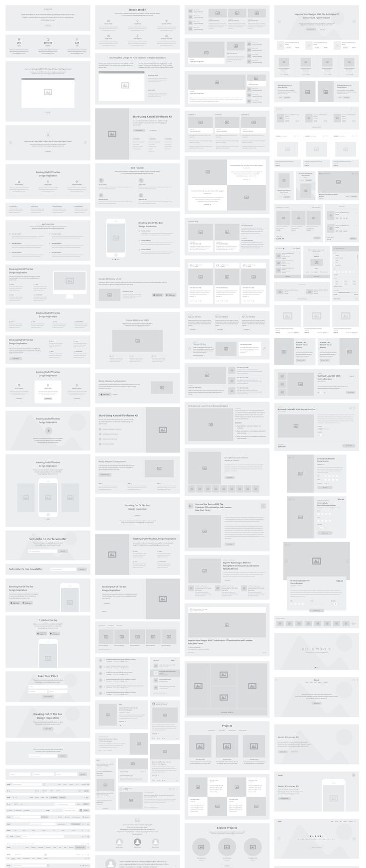 KARUKI - Web wireframe user interface kit that contains more than two hundreds components for the most popular categories to help speed up your wire-framing workflow. Compatible with Photoshop, Illustrator and Sketch!