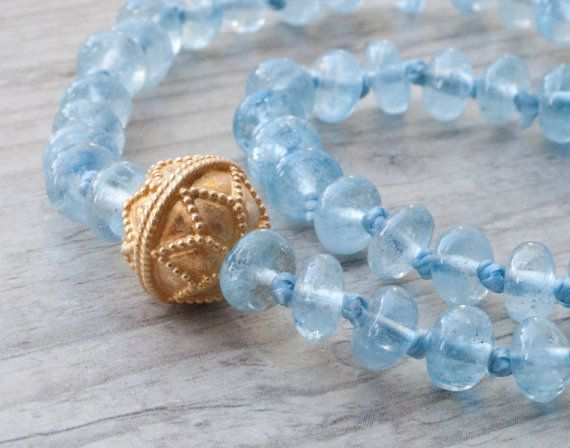 Aquamarine Necklace Blue and Gold Delicate Necklace Natural