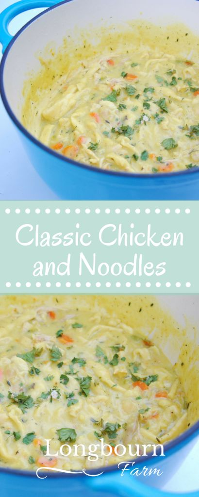 Chicken and noodles isn't quite the same as chicken noodle soup. It has a thick and creamy base filled with chicken and delicious homemade egg noodles.