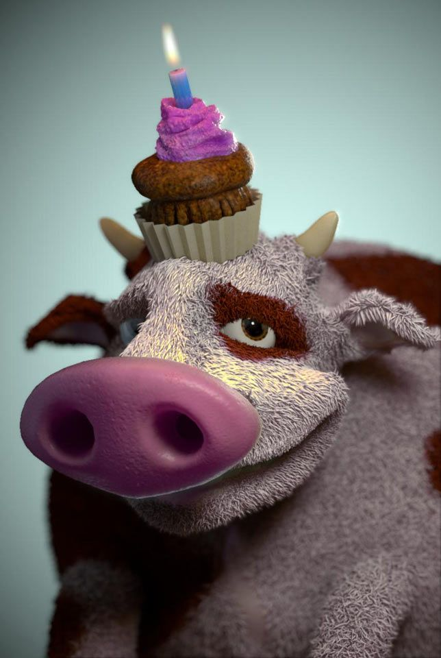 3D Birthday cow and muffin illustration