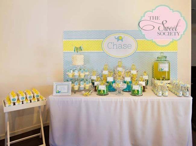 Dessert Table for Baby Boy Baptism