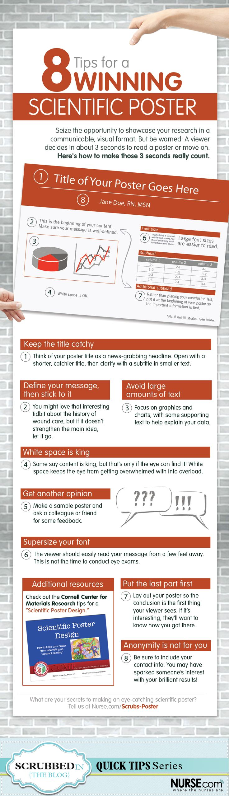 Creating a science poster isn't exactly brain surgery. But making a visually effective poster that will represent your research and make an impact isn't as simple as it sounds, either.  Give your research the spotlight it deserves. Print and share this infographic, filled with pro tips that will make your scientific poster outshine the rest.