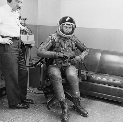 Dad [Larry Monroe] testing the flight suit he would wear while setting the world's altitude record.: Dads Larry, Flight Suits, Larry Monroe, Altitude Records