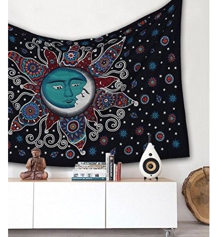 Sun Moon Bohemian Psychedelic Intricate Floral Design Indian Bedspread, wall hanging tapestry
