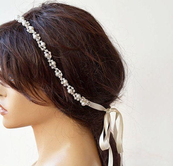 Bridal  Rhinestone and Pearl  headband  Wedding by ADbrdal on Etsy #Wedding…