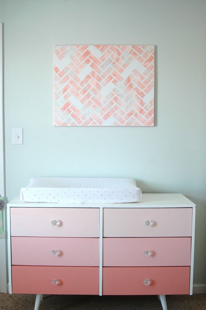 DIY Pink Ombre DresserCanvas Artworks, Diy Pink, Girls Room, Diy Wall Art, Baby Girls, Nurseries Dressers, Ombre Dresser, Pink Ombre, Nurseries Ideas
