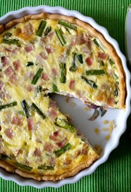Simple, savory Ham and Asparagus Quiche.