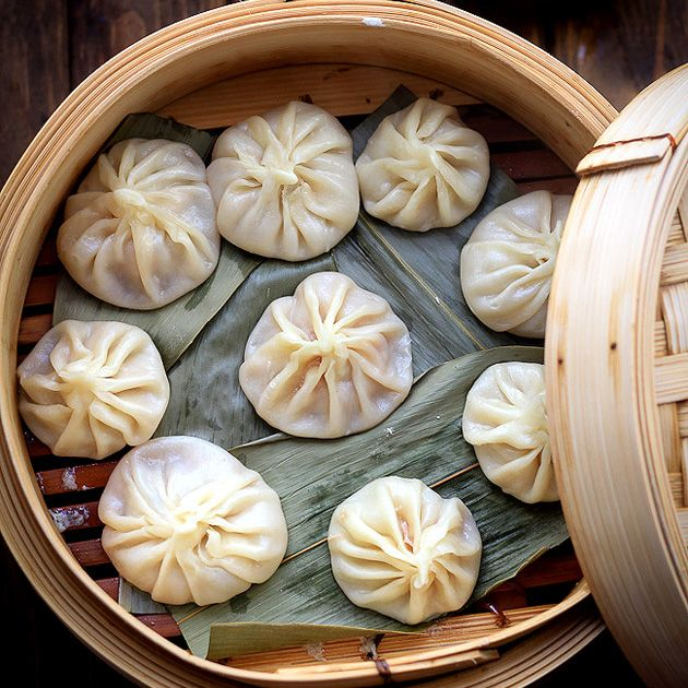 Xiao Long Bao—Chinese Soup Dumpling Recipe Soups with flour, cold water, pork rind, ginger, green onions, cooking wine, water, ground pork, oyster sauce, light soy sauce, salt, sesame oil, minced ginger, green onions, sugar