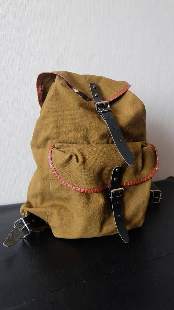 Vintage Military Washed Out Green Canvas Bag Backpack Small Distressed  Leather Straps USSR Travel Hiking Rucksack Khaki Scout Explorer Bag