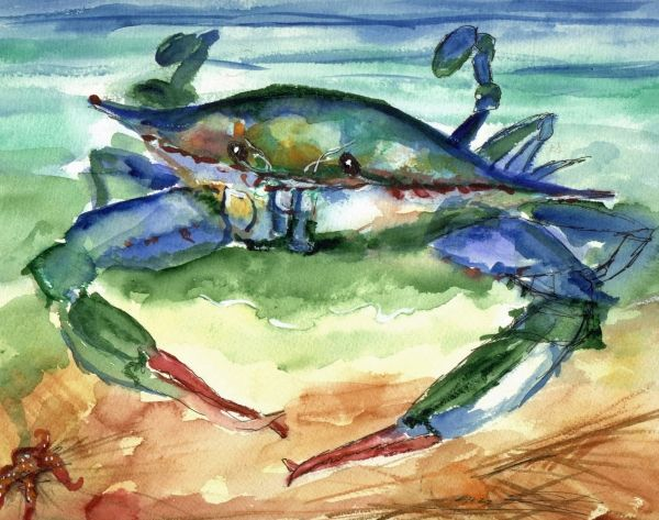 Tybee Blue Crab Painting by Doris Blessington