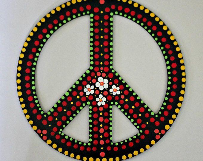 Decoración de la pared del signo de la paz de punto arte