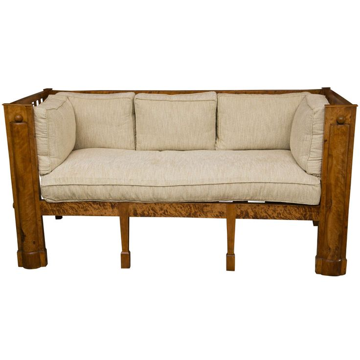 Stately Tiger Maple Biedermeier Sofa | From a unique collection of antique and modern sofas at https://www.1stdibs.com/furniture/seating/sofas/